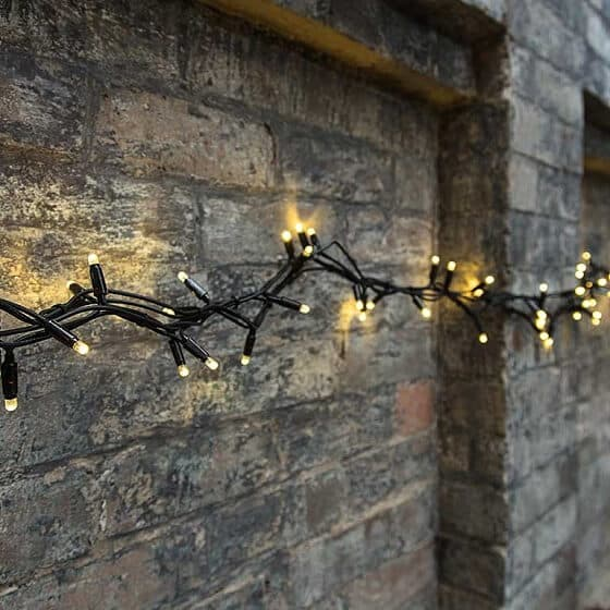 Warm White Fairy Lights Black Cable