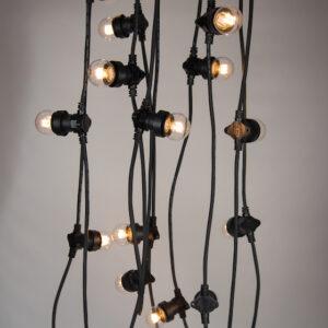 black cable festoon lighting warm white