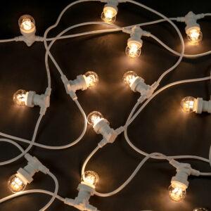 white cable festoon lights commercial grade